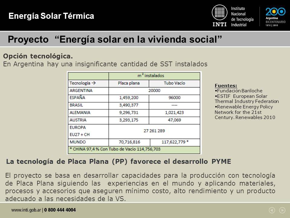 Energía Solar Térmica Proyecto Energía solar en la vivienda social Opción tecnológica. En Argentina hay una insignificante cantidad de SST instalados