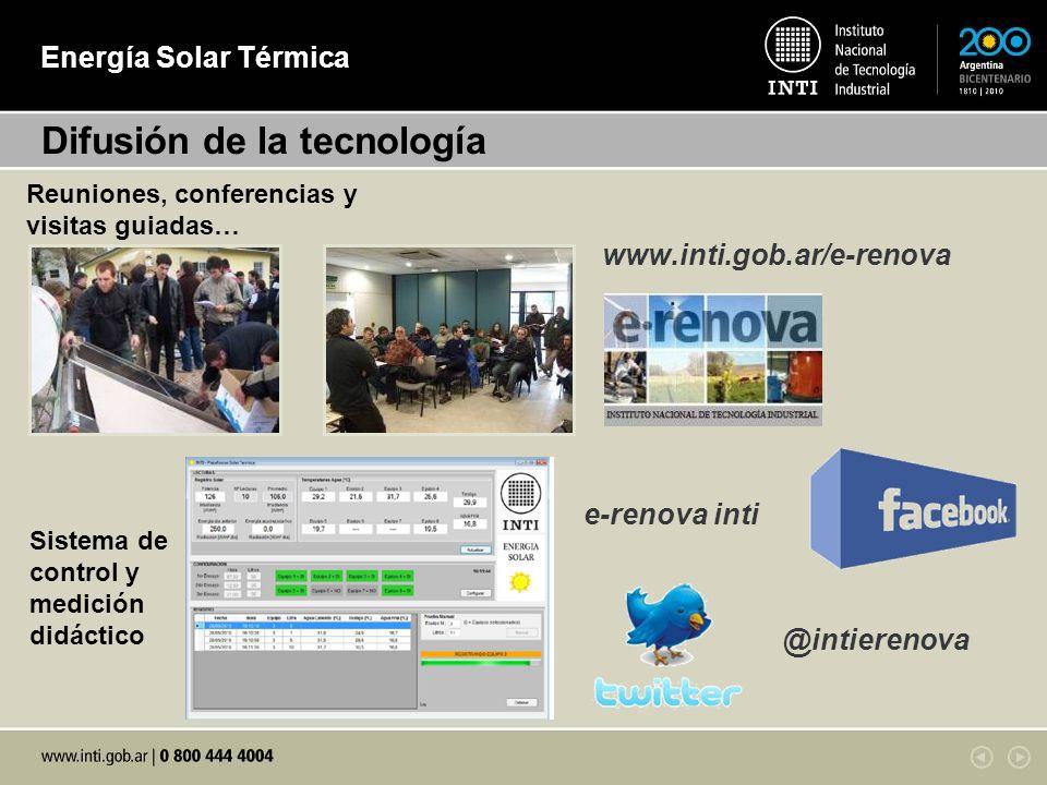 Energía Solar Térmica www.inti.gob.ar/e-renova Difusión de la tecnología e-renova inti @intierenova Reuniones, conferencias y visitas guiadas… Sistema de control y medición didáctico