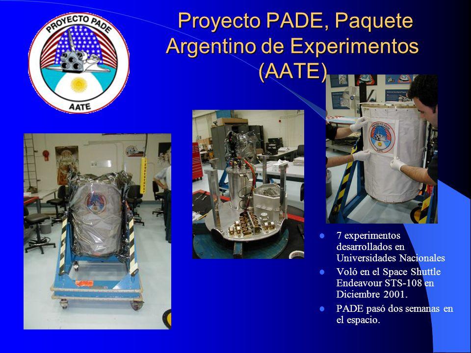 Proyecto PADE, Paquete Argentino de Experimentos (AATE) Proyecto PADE, Paquete Argentino de Experimentos (AATE) 7 experimentos desarrollados en Univer