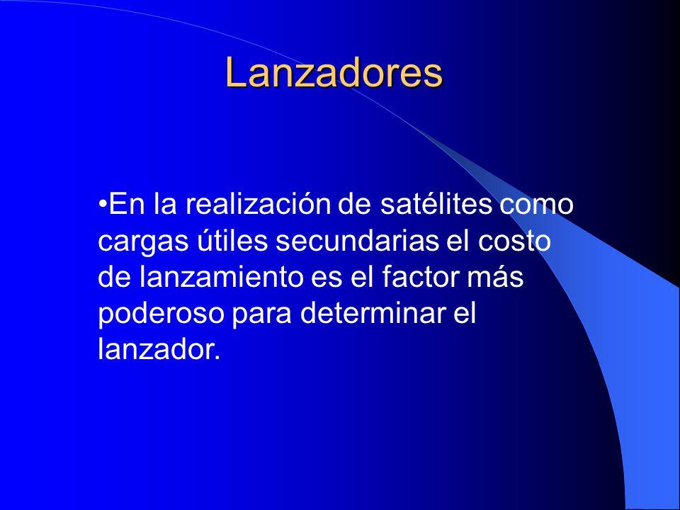 Lanzadores En la realización de satélites como cargas útiles secundarias el costo de lanzamiento es el factor más poderoso para determinar el lanzador