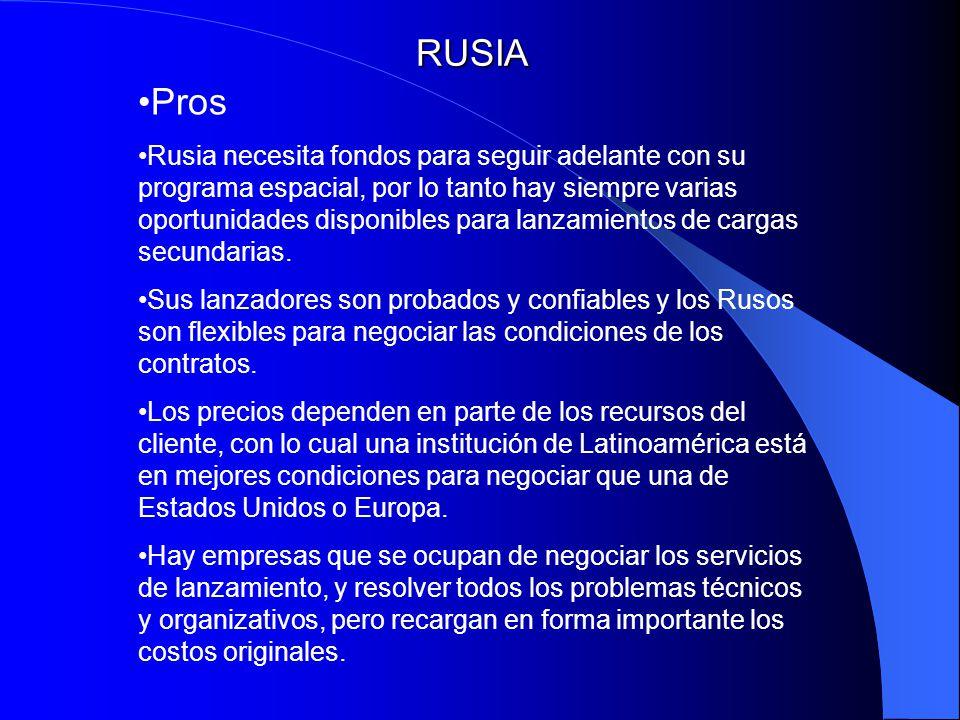 RUSIA Pros Rusia necesita fondos para seguir adelante con su programa espacial, por lo tanto hay siempre varias oportunidades disponibles para lanzami