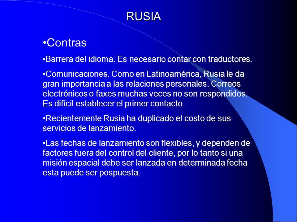 RUSIA Contras Barrera del idioma. Es necesario contar con traductores. Comunicaciones. Como en Latinoamérica, Rusia le da gran importancia a las relac