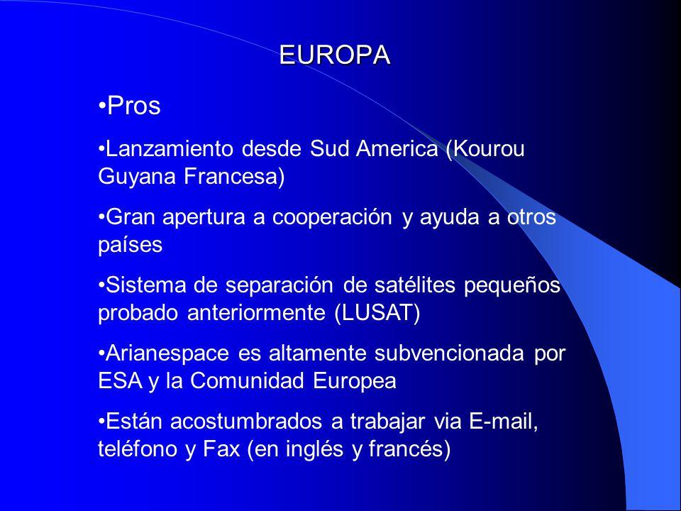 EUROPA Pros Lanzamiento desde Sud America (Kourou Guyana Francesa) Gran apertura a cooperación y ayuda a otros países Sistema de separación de satélit