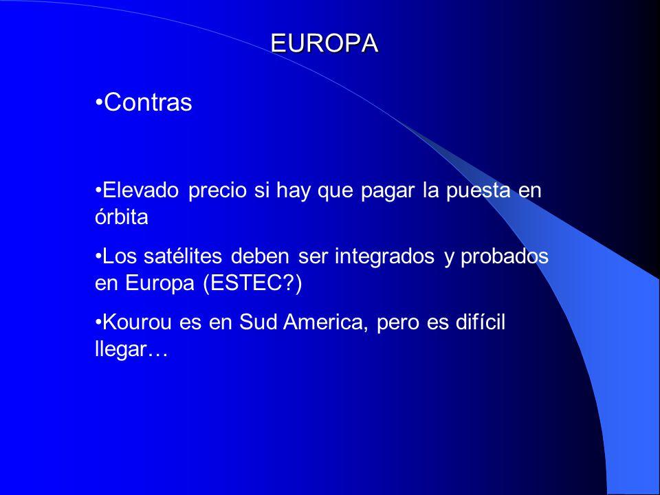 EUROPA Contras Elevado precio si hay que pagar la puesta en órbita Los satélites deben ser integrados y probados en Europa (ESTEC?) Kourou es en Sud A