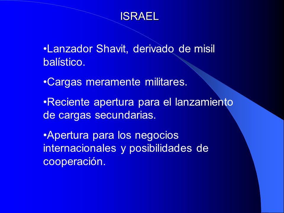 ISRAEL Lanzador Shavit, derivado de misil balístico. Cargas meramente militares. Reciente apertura para el lanzamiento de cargas secundarias. Apertura