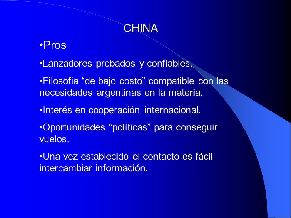CHINA Pros Lanzadores probados y confiables. Filosofia de bajo costo compatible con las necesidades argentinas en la materia. Interés en cooperación i