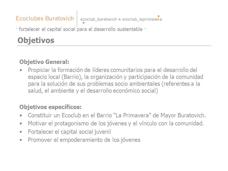 Objetivo General: Propiciar la formación de líderes comunitarios para el desarrollo del espacio local (Barrio), la organización y participación de la