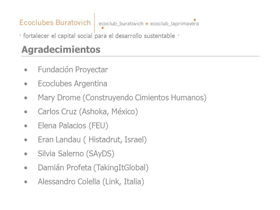 · fortalecer el capital social para el desarrollo sustentable · Agradecimientos Fundación Proyectar Ecoclubes Argentina Mary Drome (Construyendo Cimie