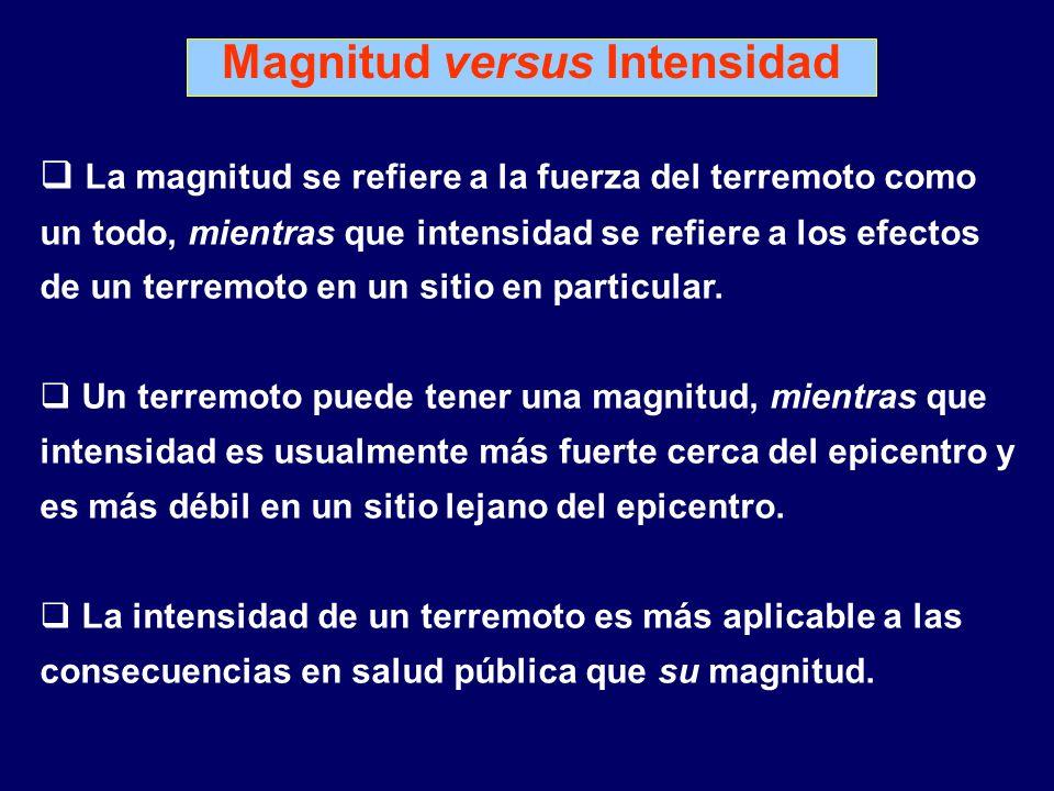 La magnitud se refiere a la fuerza del terremoto como un todo, mientras que intensidad se refiere a los efectos de un terremoto en un sitio en particular.