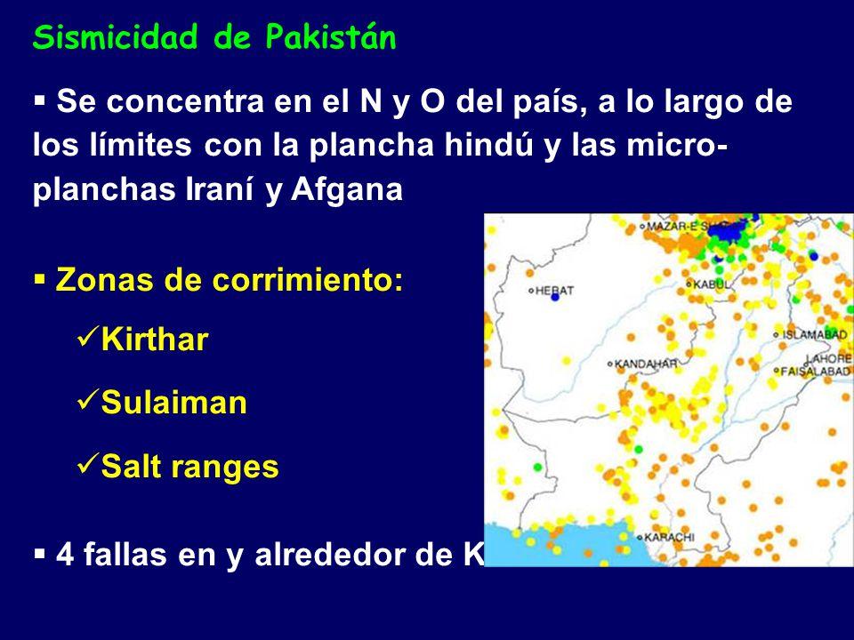 Sismicidad de Pakistán Se concentra en el N y O del país, a lo largo de los límites con la plancha hindú y las micro- planchas Iraní y Afgana Zonas de corrimiento: Kirthar Sulaiman Salt ranges 4 fallas en y alrededor de Karachi
