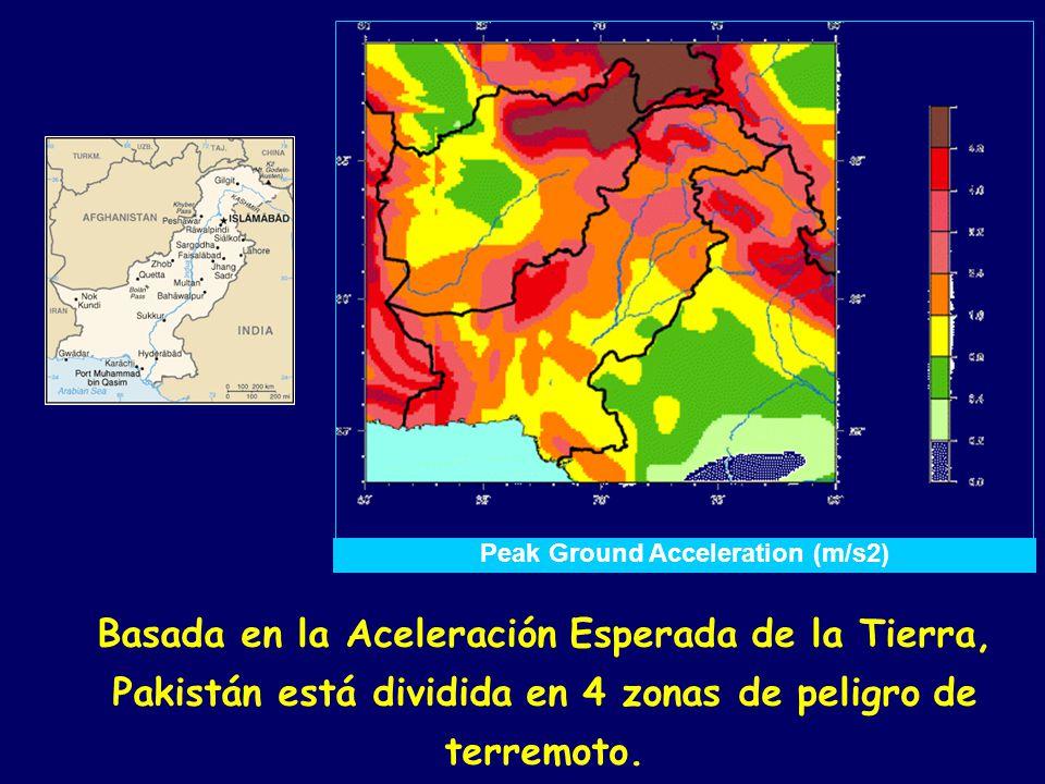 Basada en la Aceleración Esperada de la Tierra, Pakistán está dividida en 4 zonas de peligro de terremoto.