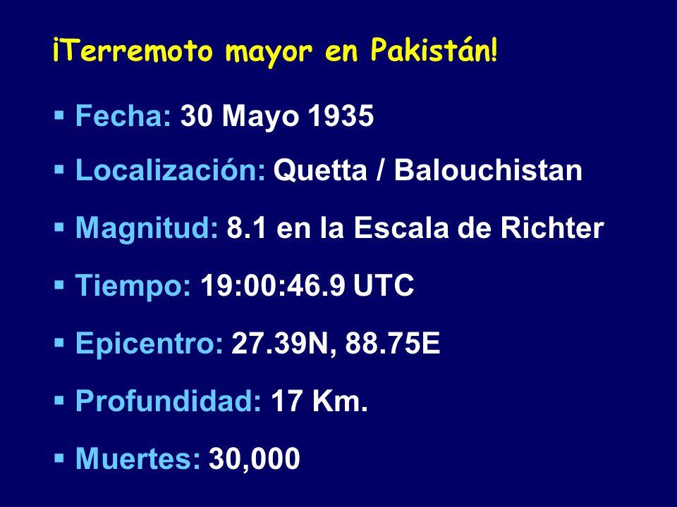 ¡Terremoto mayor en Pakistán.