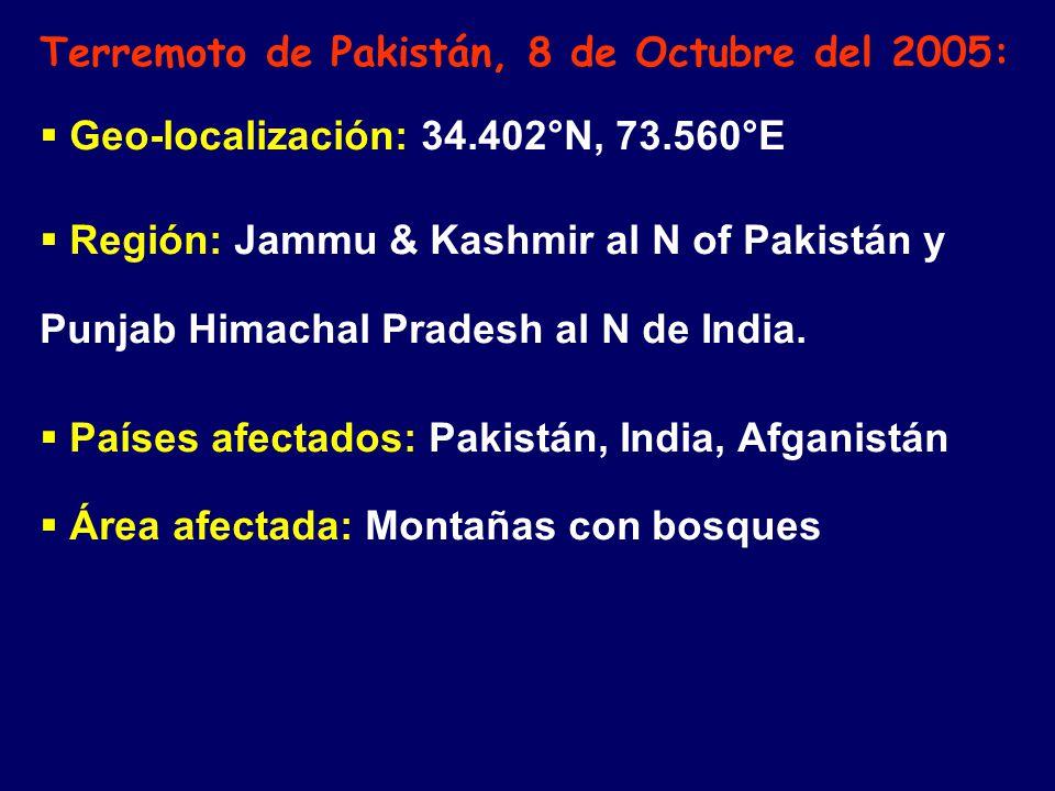 Terremoto de Pakistán, 8 de Octubre del 2005: Geo-localización: 34.402°N, 73.560°E Región: Jammu & Kashmir al N of Pakistán y Punjab Himachal Pradesh al N de India.