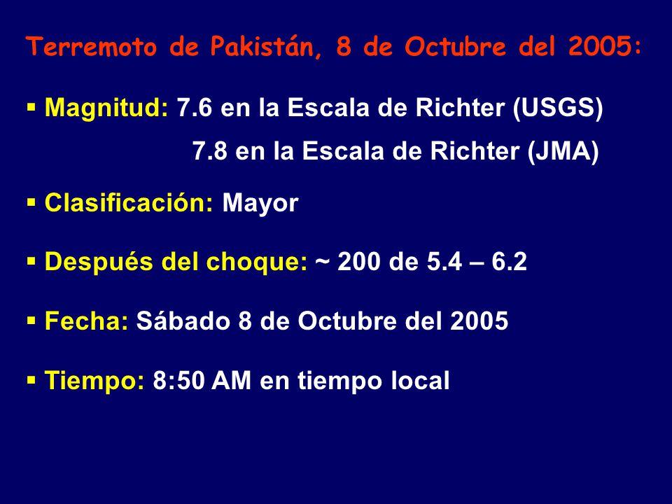 Terremoto de Pakistán, 8 de Octubre del 2005: Magnitud: 7.6 en la Escala de Richter (USGS) 7.8 en la Escala de Richter (JMA) Clasificación: Mayor Después del choque: ~ 200 de 5.4 – 6.2 Fecha: Sábado 8 de Octubre del 2005 Tiempo: 8:50 AM en tiempo local