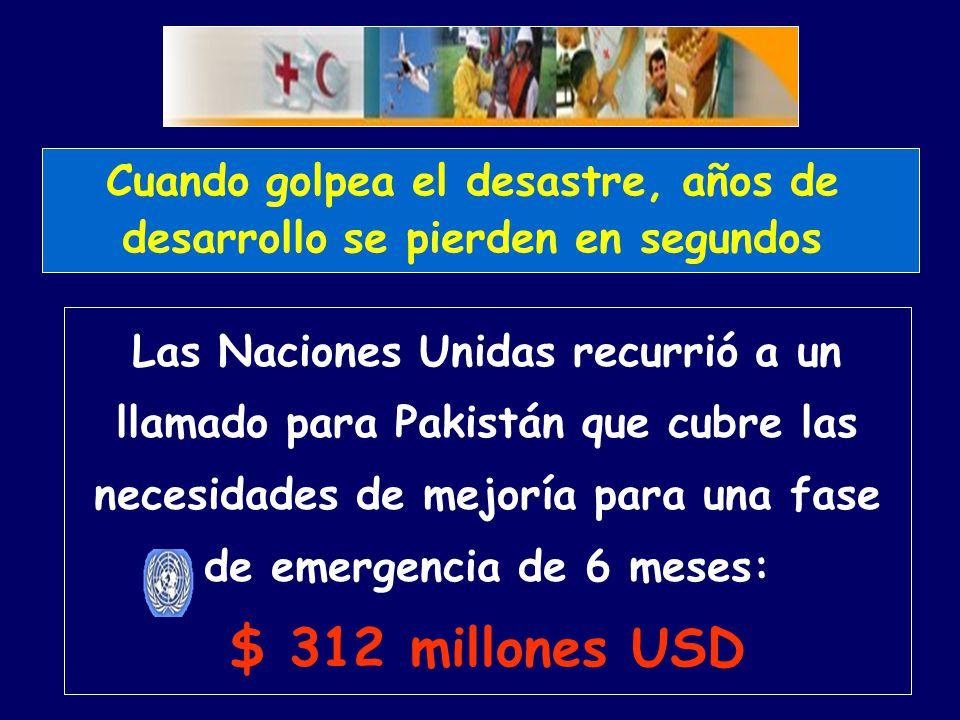 Las Naciones Unidas recurrió a un llamado para Pakistán que cubre las necesidades de mejoría para una fase de emergencia de 6 meses: $ 312 millones USD Cuando golpea el desastre, años de desarrollo se pierden en segundos