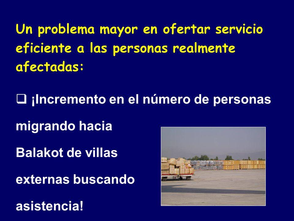 Un problema mayor en ofertar servicio eficiente a las personas realmente afectadas: ¡Incremento en el número de personas migrando hacia Balakot de villas externas buscando asistencia!