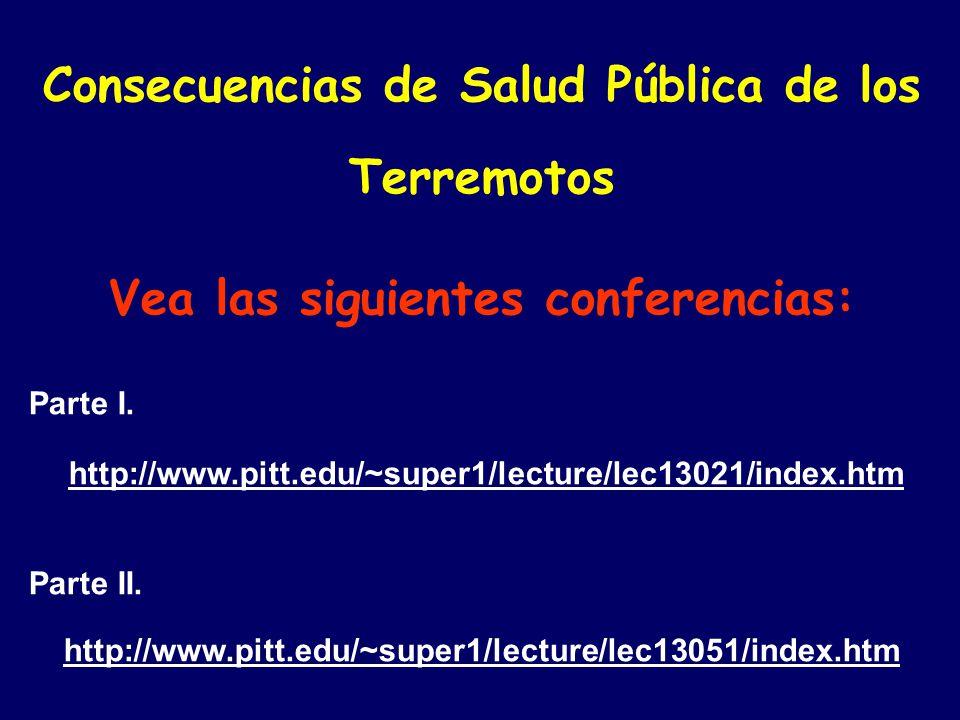 Consecuencias de Salud Pública de los Terremotos Vea las siguientes conferencias: Parte I.