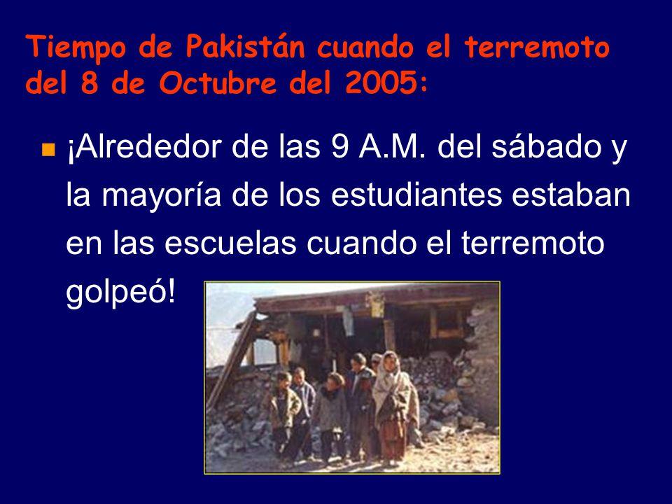 Tiempo de Pakistán cuando el terremoto del 8 de Octubre del 2005: ¡Alrededor de las 9 A.M.