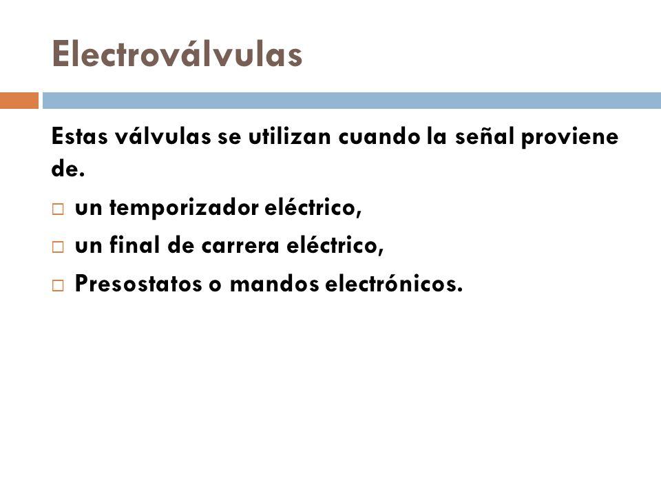 Electroválvulas Estas válvulas se utilizan cuando la señal proviene de.