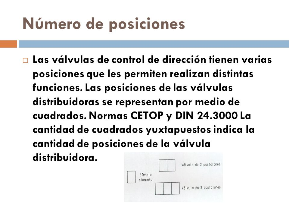 Número de posiciones Las válvulas de control de dirección tienen varias posiciones que les permiten realizan distintas funciones.