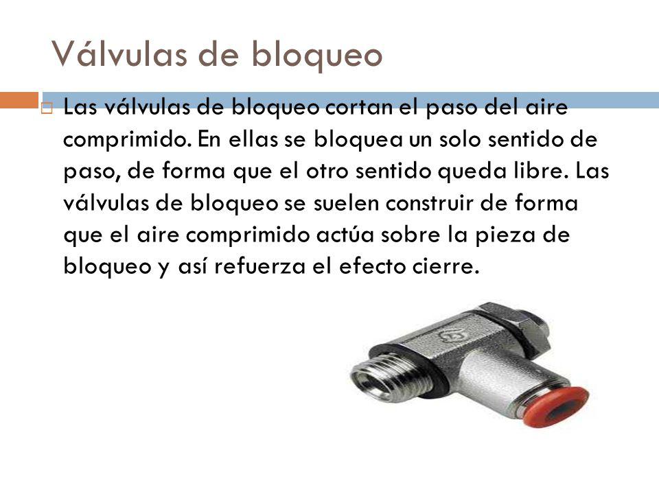 Válvulas antirretorno Este tipo de válvula esta diseñada para que deje fluir el aire en un sentido, mientras bloquea el sentido contrario.