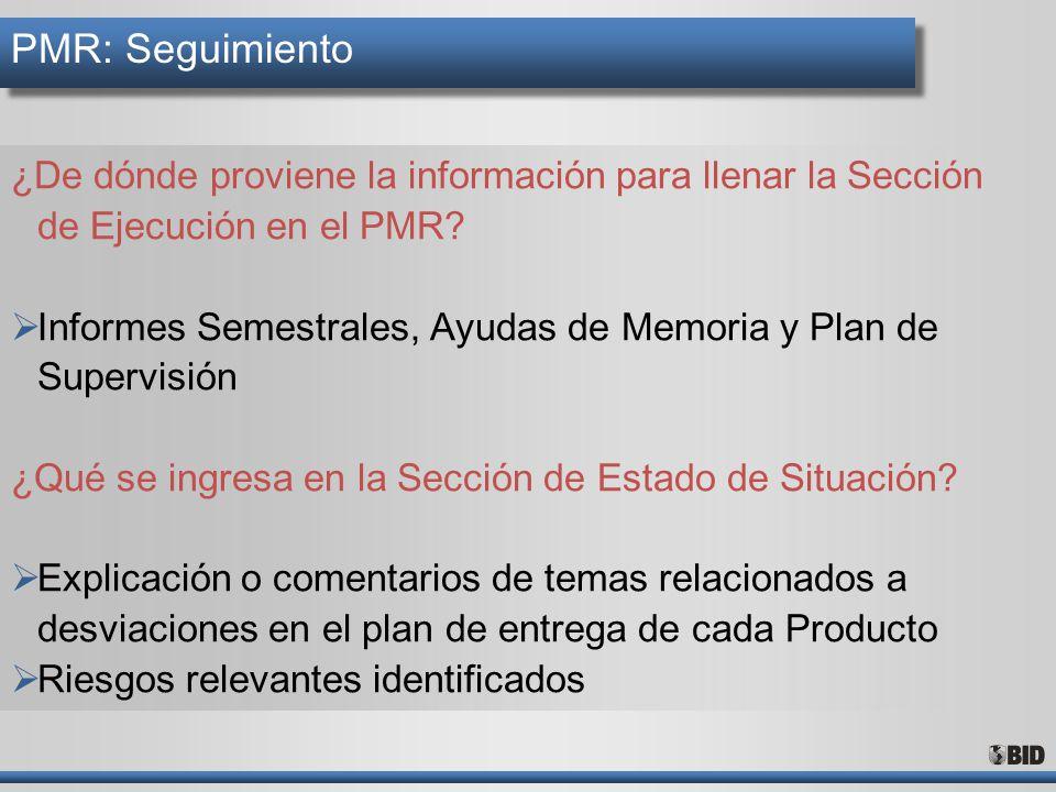 PMR: Seguimiento ¿De dónde proviene la información para llenar la Sección de Ejecución en el PMR? Informes Semestrales, Ayudas de Memoria y Plan de Su