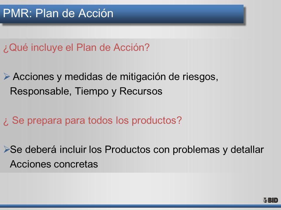 PMR: Plan de Acción ¿Qué incluye el Plan de Acción? Acciones y medidas de mitigación de riesgos, Responsable, Tiempo y Recursos ¿ Se prepara para todo