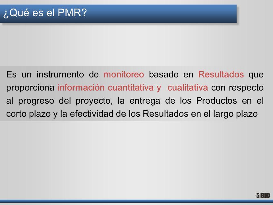 ¿Qué es el PMR? Es un instrumento de monitoreo basado en Resultados que proporciona información cuantitativa y cualitativa con respecto al progreso de