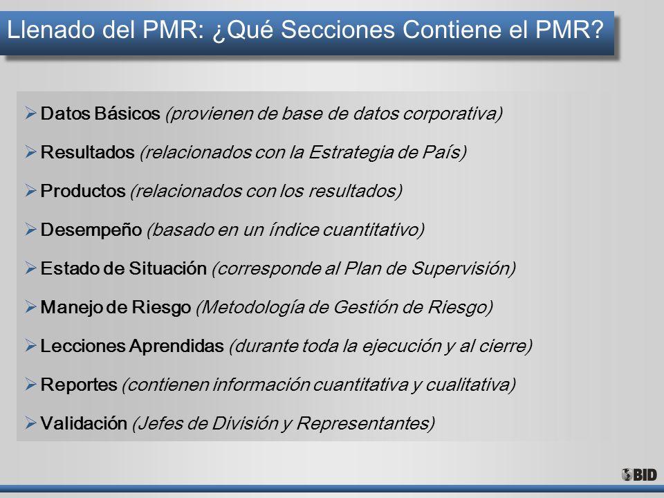 Llenado del PMR: ¿Qué Secciones Contiene el PMR? Datos Básicos (provienen de base de datos corporativa) Resultados (relacionados con la Estrategia de