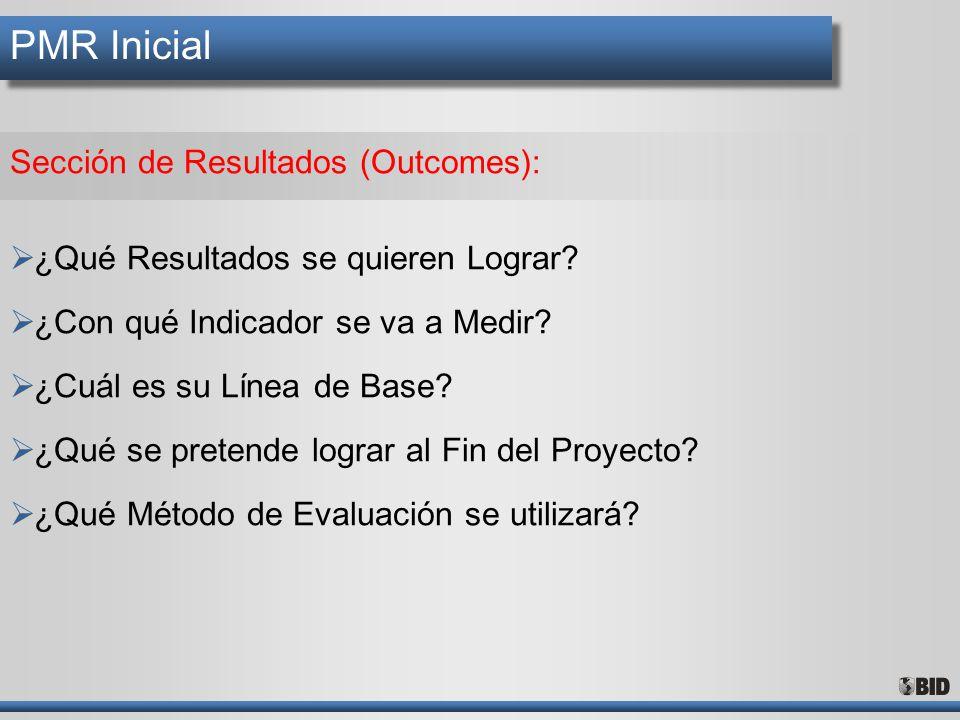 PMR Inicial Sección de Resultados (Outcomes): ¿Qué Resultados se quieren Lograr? ¿Con qué Indicador se va a Medir? ¿Cuál es su Línea de Base? ¿Qué se