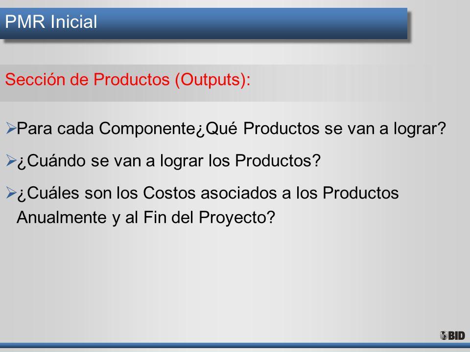 PMR Inicial Sección de Productos (Outputs): Para cada Componente¿Qué Productos se van a lograr? ¿Cuándo se van a lograr los Productos? ¿Cuáles son los
