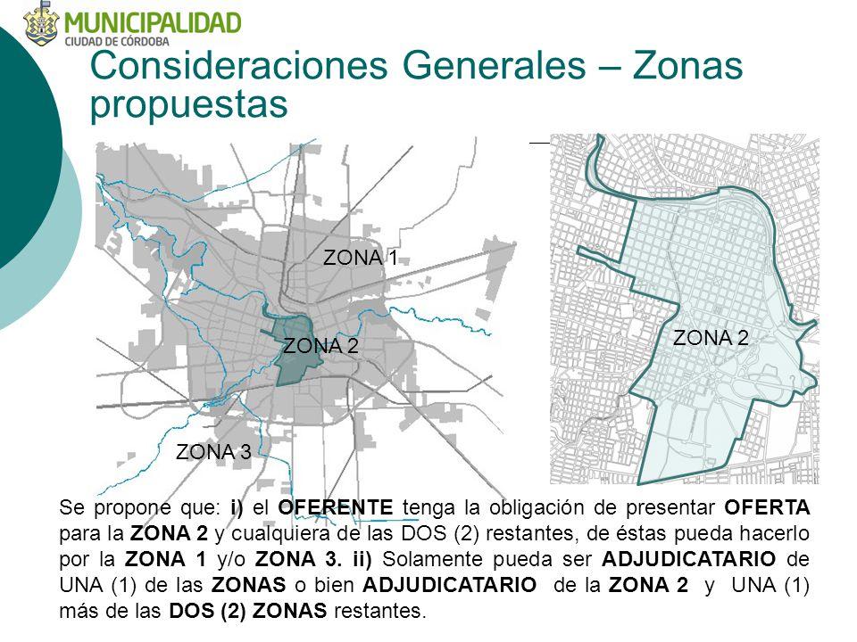 ZONA 1 ZONA 2 ZONA 3 Consideraciones Generales – Zonas propuestas ZONA 2 Se propone que: i) el OFERENTE tenga la obligación de presentar OFERTA para la ZONA 2 y cualquiera de las DOS (2) restantes, de éstas pueda hacerlo por la ZONA 1 y/o ZONA 3.