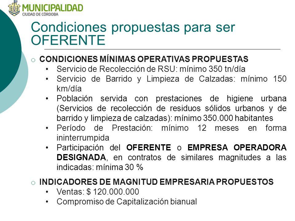 Condiciones propuestas para ser OFERENTE o CONDICIONES MÍNIMAS OPERATIVAS PROPUESTAS Servicio de Recolección de RSU: mínimo 350 tn/día Servicio de Bar