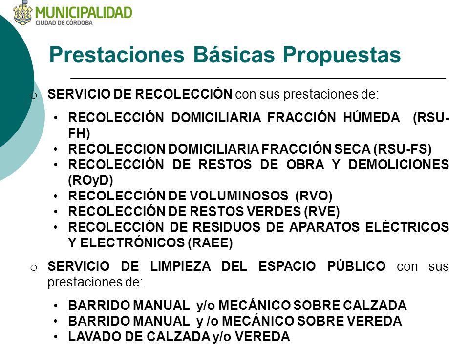 Prestaciones Básicas Propuestas o SERVICIO DE RECOLECCIÓN con sus prestaciones de: RECOLECCIÓN DOMICILIARIA FRACCIÓN HÚMEDA (RSU- FH) RECOLECCION DOMICILIARIA FRACCIÓN SECA (RSU-FS) RECOLECCIÓN DE RESTOS DE OBRA Y DEMOLICIONES (ROyD) RECOLECCIÓN DE VOLUMINOSOS (RVO) RECOLECCIÓN DE RESTOS VERDES (RVE) RECOLECCIÓN DE RESIDUOS DE APARATOS ELÉCTRICOS Y ELECTRÓNICOS (RAEE) o SERVICIO DE LIMPIEZA DEL ESPACIO PÚBLICO con sus prestaciones de: BARRIDO MANUAL y/o MECÁNICO SOBRE CALZADA BARRIDO MANUAL y /o MECÁNICO SOBRE VEREDA LAVADO DE CALZADA y/o VEREDA