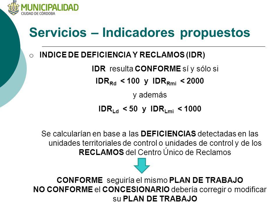 Servicios – Indicadores propuestos o INDICE DE DEFICIENCIA Y RECLAMOS (IDR) IDR resulta CONFORME sí y sólo si IDR Rd < 100 y IDR Rmi < 2000 y además IDR Ld < 50 y IDR Lmi < 1000 Se calcularían en base a las DEFICIENCIAS detectadas en las unidades territoriales de control o unidades de control y de los RECLAMOS del Centro Único de Reclamos CONFORME seguiría el mismo PLAN DE TRABAJO NO CONFORME el CONCESIONARIO debería corregir o modificar su PLAN DE TRABAJO