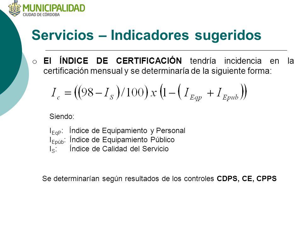 Servicios – Indicadores sugeridos o El ÍNDICE DE CERTIFICACIÓN tendría incidencia en la certificación mensual y se determinaría de la siguiente forma: