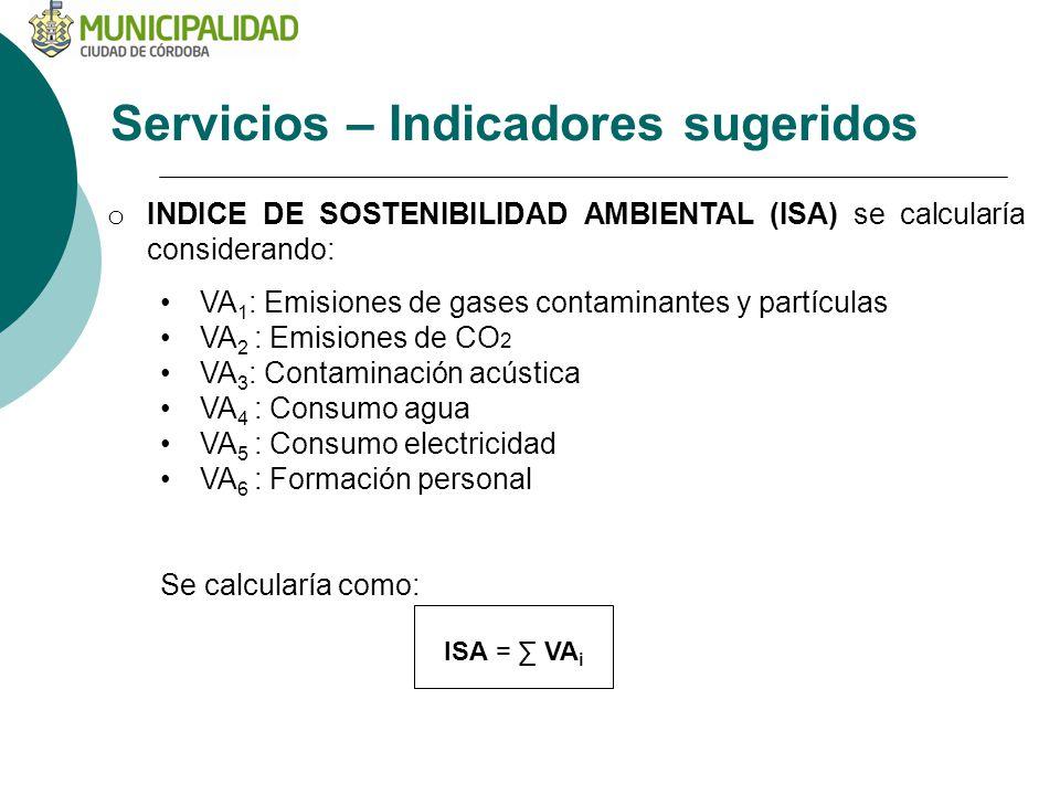 Servicios – Indicadores sugeridos o INDICE DE SOSTENIBILIDAD AMBIENTAL (ISA) se calcularía considerando: VA 1 : Emisiones de gases contaminantes y par