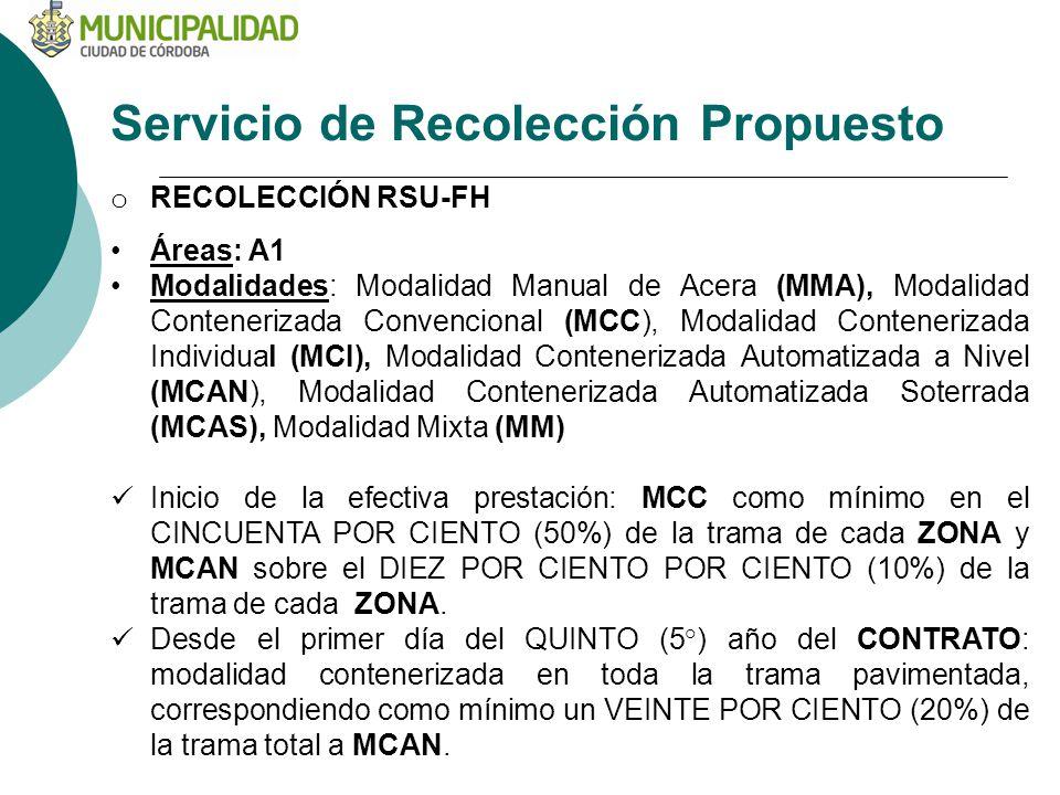Servicio de Recolección Propuesto o RECOLECCIÓN RSU-FH Áreas: A1 Modalidades: Modalidad Manual de Acera (MMA), Modalidad Contenerizada Convencional (MCC), Modalidad Contenerizada Individual (MCI), Modalidad Contenerizada Automatizada a Nivel (MCAN), Modalidad Contenerizada Automatizada Soterrada (MCAS), Modalidad Mixta (MM) Inicio de la efectiva prestación: MCC como mínimo en el CINCUENTA POR CIENTO (50%) de la trama de cada ZONA y MCAN sobre el DIEZ POR CIENTO POR CIENTO (10%) de la trama de cada ZONA.