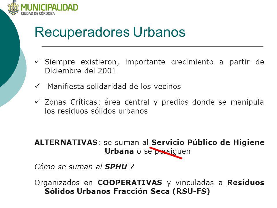 Recuperadores Urbanos Siempre existieron, importante crecimiento a partir de Diciembre del 2001 Manifiesta solidaridad de los vecinos Zonas Críticas: