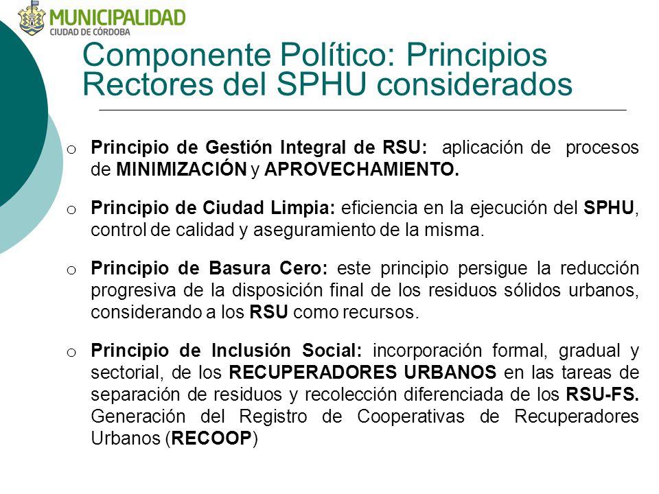 Componente Político: Principios Rectores del SPHU considerados o Principio de Gestión Integral de RSU: aplicación de procesos de MINIMIZACIÓN y APROVECHAMIENTO.