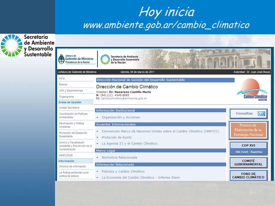 Hoy inicia www.ambiente.gob.ar/cambio_climatico