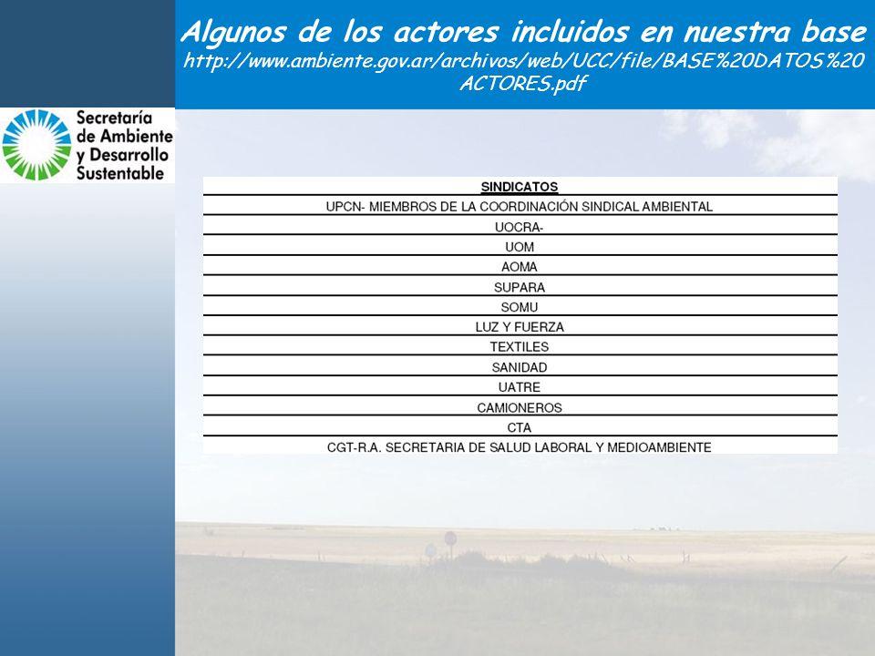 Algunos de los actores incluidos en nuestra base http://www.ambiente.gov.ar/archivos/web/UCC/file/BASE%20DATOS%20 ACTORES.pdf