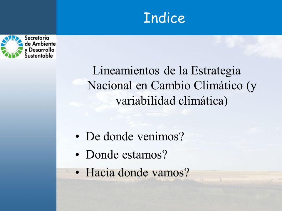 Indice Lineamientos de la Estrategia Nacional en Cambio Climático (y variabilidad climática) De donde venimos.