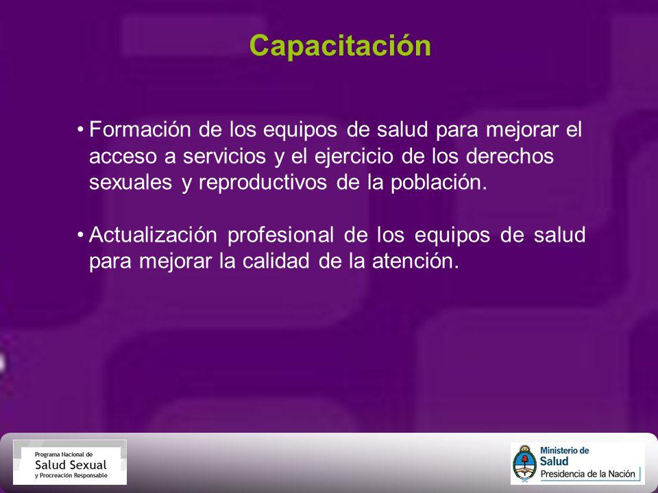 Capacitación Formación de los equipos de salud para mejorar el acceso a servicios y el ejercicio de los derechos sexuales y reproductivos de la poblac
