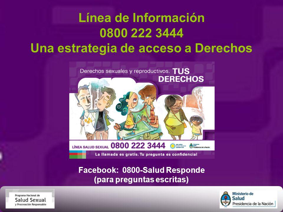 Línea de Información 0800 222 3444 Una estrategia de acceso a Derechos Facebook: 0800-Salud Responde (para preguntas escritas)