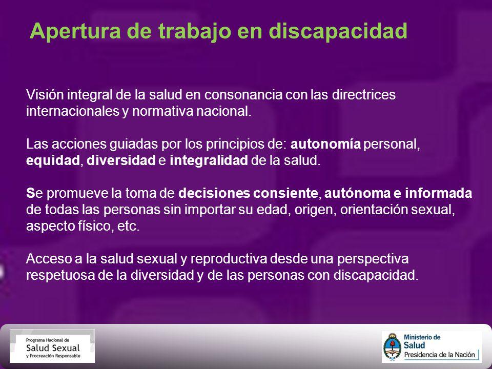 Apertura de trabajo en discapacidad Visión integral de la salud en consonancia con las directrices internacionales y normativa nacional. Las acciones