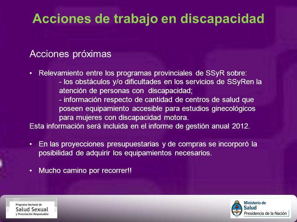 Acciones de trabajo en discapacidad Acciones próximas Relevamiento entre los programas provinciales de SSyR sobre: - los obstáculos y/o dificultades e