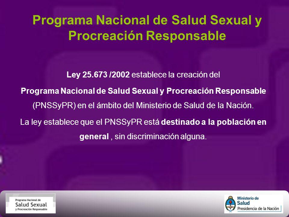 Programa Nacional de Salud Sexual y Procreación Responsable Ley 25.673 /2002 establece la creación del Programa Nacional de Salud Sexual y Procreación