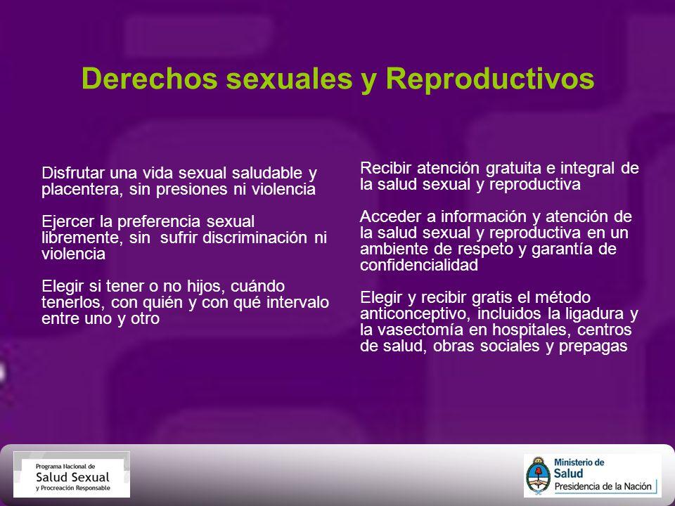 Derechos sexuales y Reproductivos Disfrutar una vida sexual saludable y placentera, sin presiones ni violencia Ejercer la preferencia sexual librement