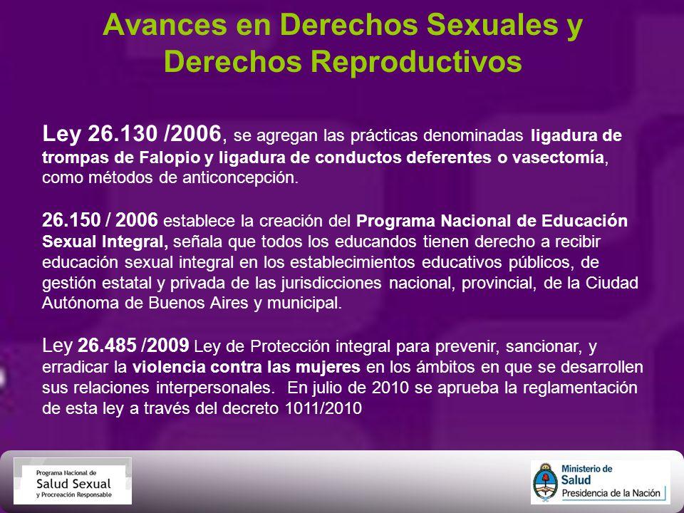 Avances en Derechos Sexuales y Derechos Reproductivos Ley 26.130 /2006, se agregan las prácticas denominadas ligadura de trompas de Falopio y ligadura